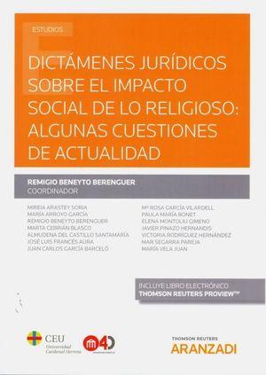 DICTAMENES JURIDICOS SOBRE EL IMPACTO SOCIAL DE LO RELIGIOSO: