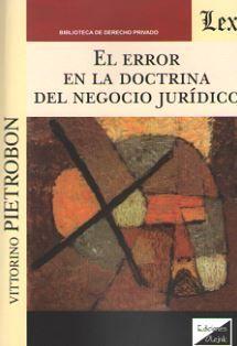 EL ERROR EN LA DOCTRINA DEL NEGOCIO JURIDICO
